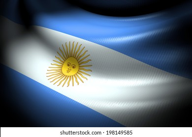 Flag of Argentina in the dark with brightness spot