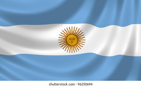 Flag of Argentina waving in the wind detail
