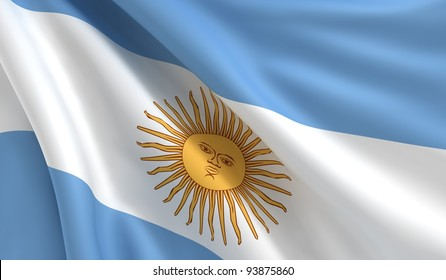 A flag of Argentina in the wind