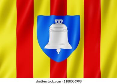 Flag of Ariege, France. 3d illustration of Ariège flag waving.