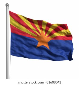Flag of Arizona. Rendered with fabric texture (visible at 100%).  Clipping path included.