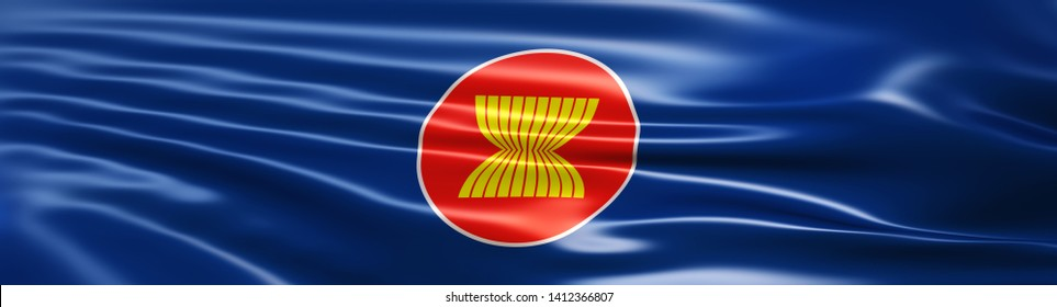 Flag of the Association of Southeast Asian Nations (or ASEAN). 3D Illustration rendered in large wide format.