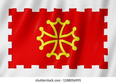 Flag of Aude, France. 3d illustration of Aude flag waving.