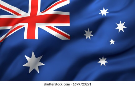 Flag of Australia blowing in the wind. Full page Australian flying flag. 3D illustration.