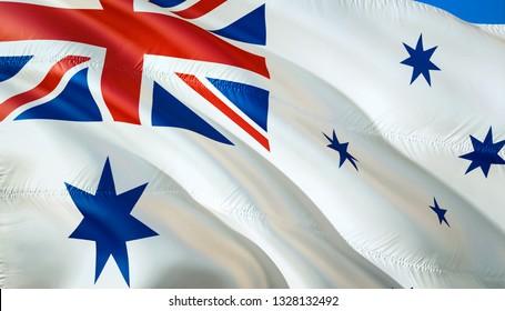 Flag of Australia naval ensign. 3D Waving flag design. The national symbol of Australia naval ensign, 3D rendering. National colors of Australia naval ensign 3D Waving sign background design