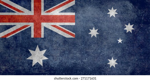 Flag of Australia, officially the Commonwealth of Australia. Retro style version is to 1:2 scale