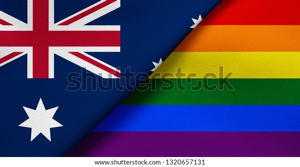 Flag Australia Rainbow Flag Lgbt Movement Stock Illustration