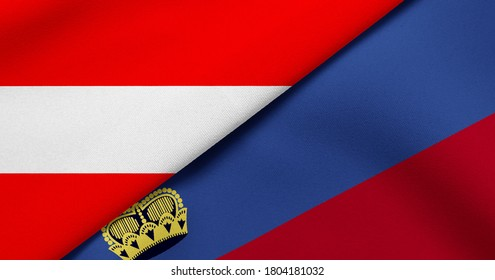 Flag of Austria and Liechtenstein - 3D illustration. Two Flag Together - Fabric Texture