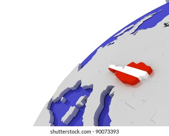 The flag of Austria on the  globe, 3D