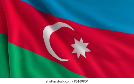 A flag of Azerbaijan in the wind