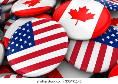 Flag Badges of America and Canada in Pile - Concept image for US and Canadian Relations