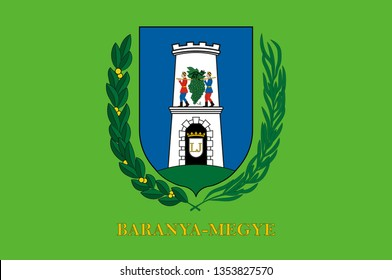 Flag of Baranya is the administrative county in Hungary, in the Baranya region, and also in the former Kingdom of Hungary. 3d illustration