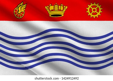 Flag of Barrie is a city, and manifesting regional centre in Central Ontario, Canada. 3d illustration