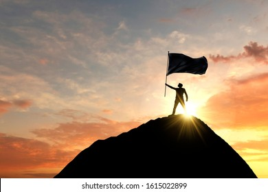 Flag being waved at the top of a mountain summit. 3D Rendering