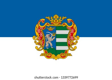 Flag of Bekes is an administrative division in south-eastern Hungary. 3d illustration