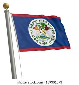 The flag of Belize fluttering on flagpole