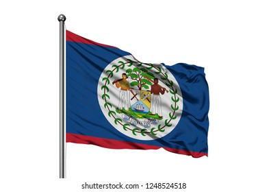 Flag of Belize waving in the wind, isolated white background. Belizean flag.