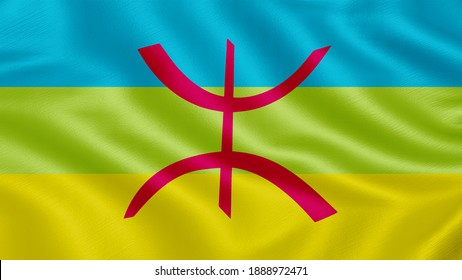 Flag of Berber. Realistic waving flag 3D render illustration with highly detailed fabric texture.