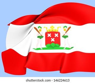 Flag of Bergen op Zoom, Netherlands. Close Up.