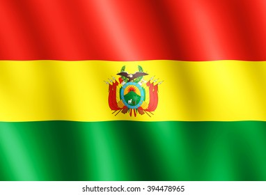 Flag of Bolivia waving in the wind giving an undulating texture of folds in the fabric. The Image is in the official ratio of the flag - 15:22.