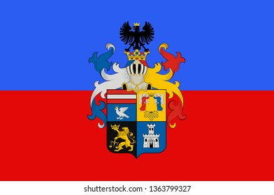 Flag of Borsod-Abauj-Zemplen is an administrative county in north-eastern Hungary. 3d illustration
