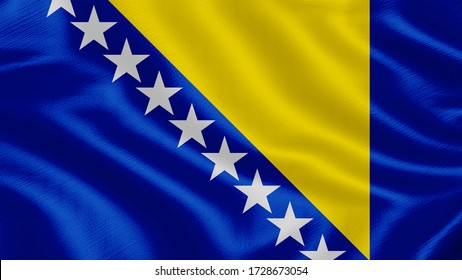 Flag of Bosnia-and-herzegovina. Realistic waving flag 3D render illustration with highly detailed fabric texture.
