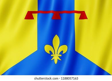 Flag of Bouches-du-Rhone, France. 3d illustration of Bouches du Rhone flag waving.