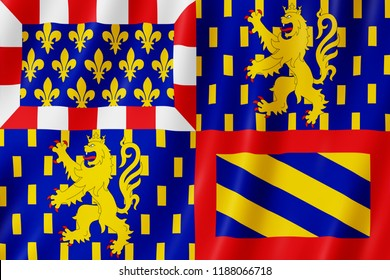 Flag of Bourgogne-Franche-Comte, France. 3d illustration of Bourgogne-Franche-Comte flag waving.
