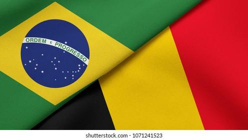 Flag of Brazil and Belgium
