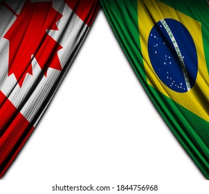 Flag of Brazil and Canada with theater effect. 3D Illustration