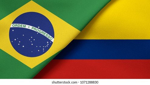 Flag of Brazil and Colombia