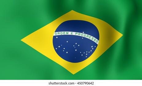 Flag of Brazil, fluttering in the wind. 3D rendering.