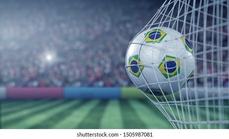 Flag of Brazil on the football hitting goal net back. Realistic 3D rendering