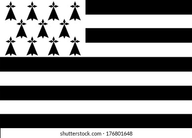 Flag of Brittany also known as Gwenn-ha-du.
