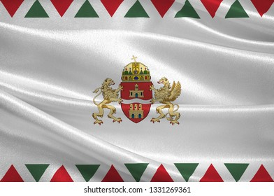 Flag of Budapest is the capital and the most populous city of Hungary, and the tenth-largest city in the European Union. 3d illustration