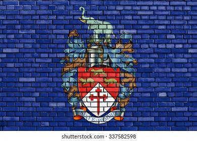 flag of Bulawayo painted on brick wall