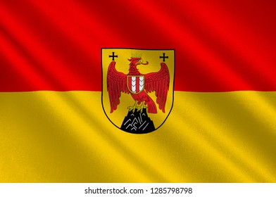 Flag of Burgenland is the easternmost and least populous state of Austria. 3d illustration