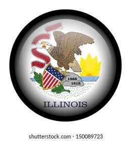 Flag button illustration with black frame - Illinois