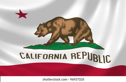 Flag of California state waving in the wind detail