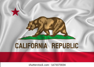 Flag of California in the United States on the background texture. Concept for designer solutions.