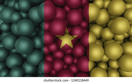 Flag Of Cameroon On Top Of Round Shapes. 3D Illustration Cameroon Flag And Round Shapes. Flag On Textured Shapes.