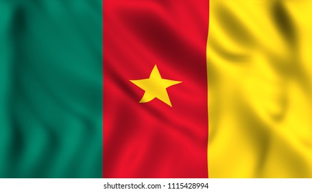 flag cameroon waving in the wind
