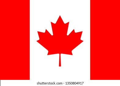 Flag of Canada is a country in the northern part of North America. 3d illustration