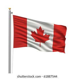 Flag of Canada with flag pole waving in the wind over white background