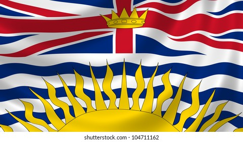 Flag of Canadian British Columbia Province waving in the wind detail
