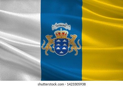 Flag of Canary Islands are a Spanish archipelago and the southernmost autonomous community of Spain located in the Atlantic Ocean. 3d illustration