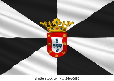 Flag of Ceuta is an Spanish autonomous city on the north coast of Africa from Cadiz province. 3d illustration