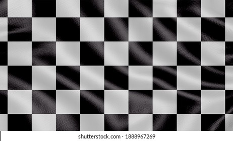 Flag of Checked race black and white square. Realistic waving flag 3D render illustration with highly detailed fabric texture.