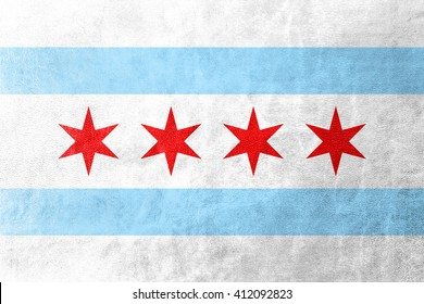 Flag of Chicago, Illinois, painted on leather texture