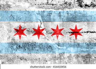 Flag of Chicago, Illinois, painted on dirty wall. Vintage and old look.